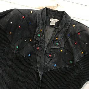 Vintage Jackets & Coats - Vintage Black Jean embellish acid bomber jacket m